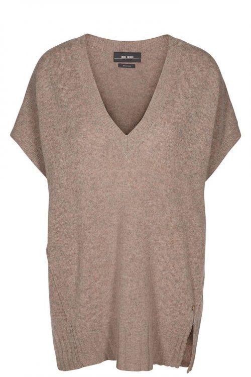 Koks (ikke camel) oversized cashmere vest med trendy dyp v-hals Mos Mosh - 129590 chia cashmere slip over