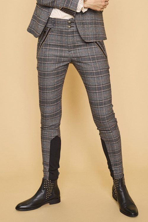 Sortbrungrå-rutet bukse med zip Mos Mosh - 128531 milton milano pant