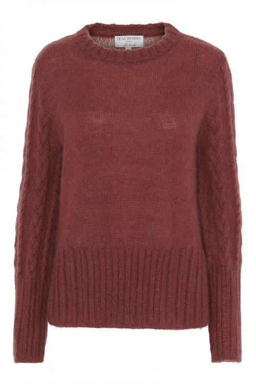 Pudder (ikke rødbrun) genser med flettestrikk Dear Dharma - new tone