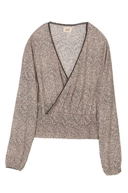 Beige paisley bluse med trendy strikk i liv Nekane/Nud - ekanita