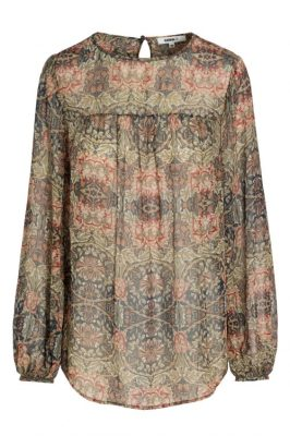 Høstmønstret chiffon 100% silkebluse Katrin Uri - 454 william bluse