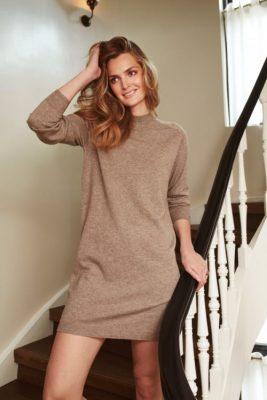 Sand melange cashmere ull strikkekjole Katrin Uri - 641 isabell dress