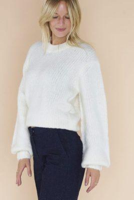 Clear cream alpakkamix genser med poserm Samsøe - 11144 abby crewneck