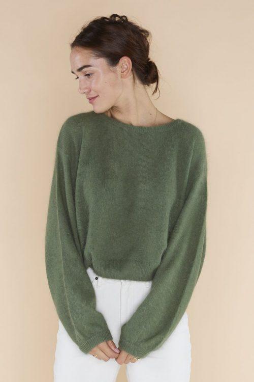 Kanel, grønn eller ecru angoramix genser med trendy poseerm American Vintage miti 236