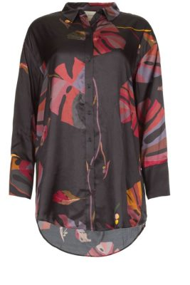 Sortmønstret storskjorte silke/viskose Munte - handle