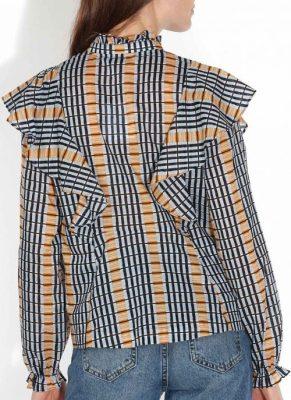 Inca check bluse i organisk bomull Samsøe - 10059 martha shirt aop