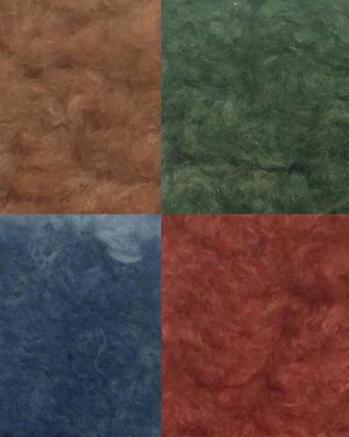 Rosa, jeansblå, grønn og camelbrun ullmiks kåpe Cabana Living