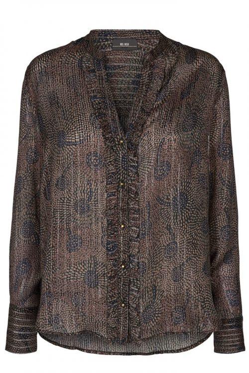 Blåbrun påfuglmønstret viskose bluse Mos Mosh - 130370 Damia Peacock Shirt