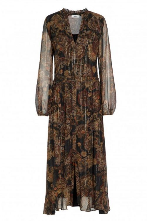 Høstmønstret lang silkechiffon kjole Katrin Uri - 624 rome paisley gold dress