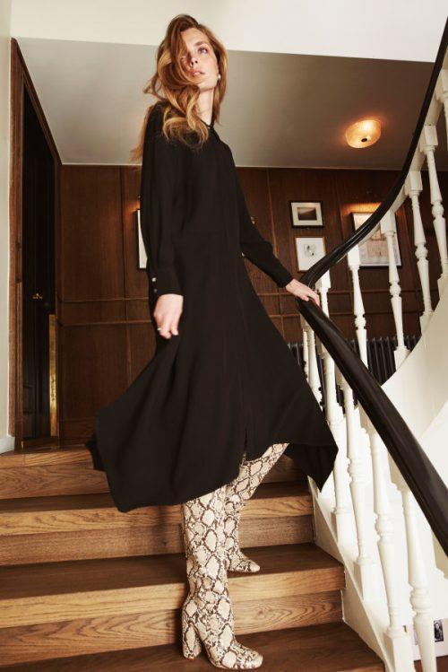 Sort jaquard viskose lang skjortekjole Katrin Uri - 634 josephine night dress