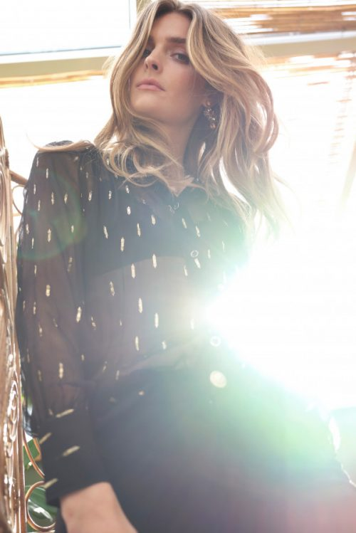 Sort med gullspots chiffon viskose bluse Katrin Uri - 418 paris gold blouse