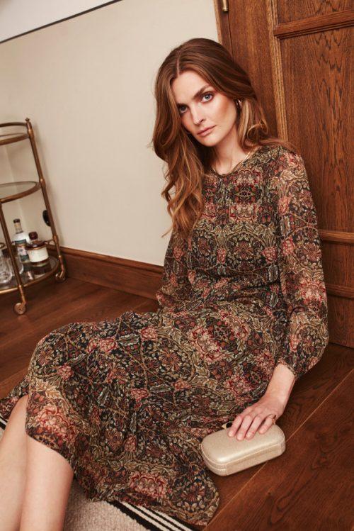 Høstmønstret silkekjole Katrin Uri - 647 william dress