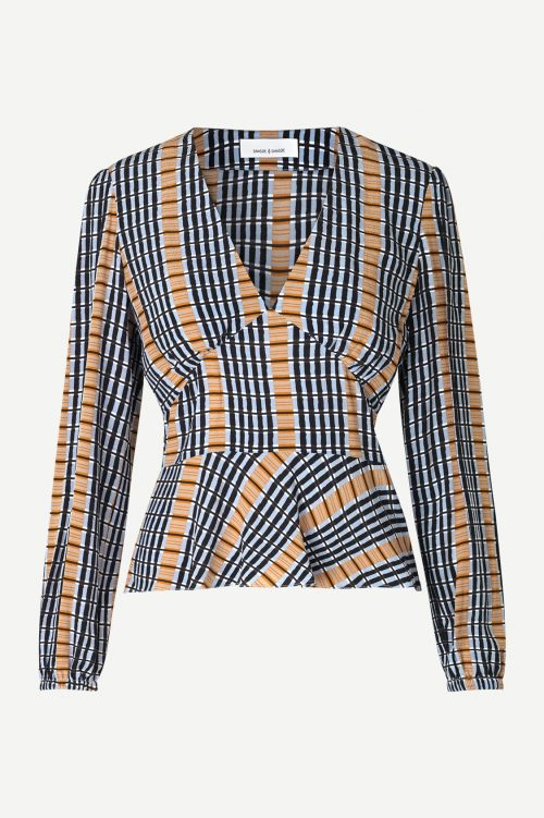 Inca check viskose blusetopp Samsøe - 10056 cindy blouse aop