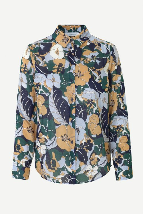 Camelgrønn-mønstret viskose skjorte Samsøe - 7201 milly shirt aop