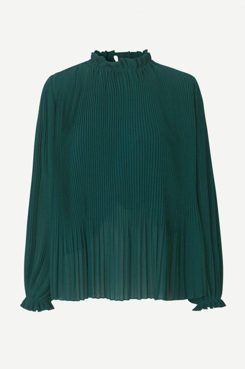 Grønn plissé blusetopp Samsøe - 6621 mindy ls