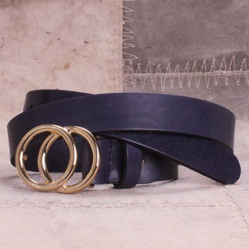 Blått eller sort belte med dobbelspenne i gull Bæltekompagniet - 30500