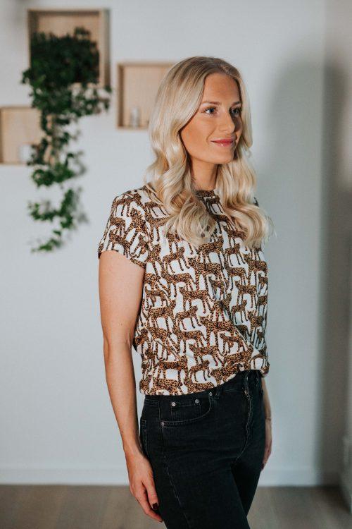 Leopardprint bomull t-shirt bomull Munthe - jeramy