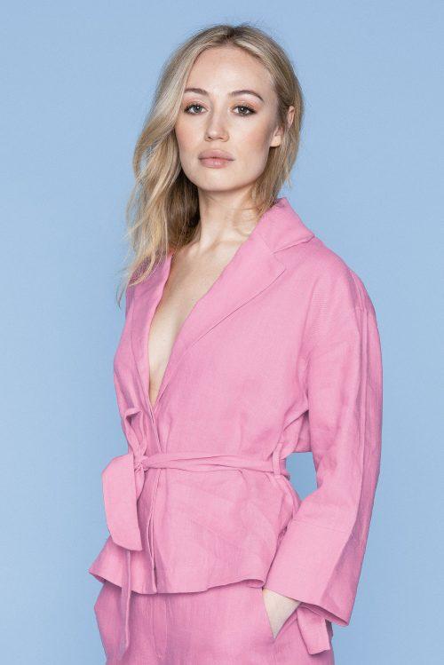 Beige lin jakke (ikke rosa) med belte Ella&Il - Marita linen shirt