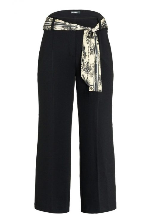 Sort culotte creppe bukse med printbelte Cambio - 6030 0215-15 claire 25