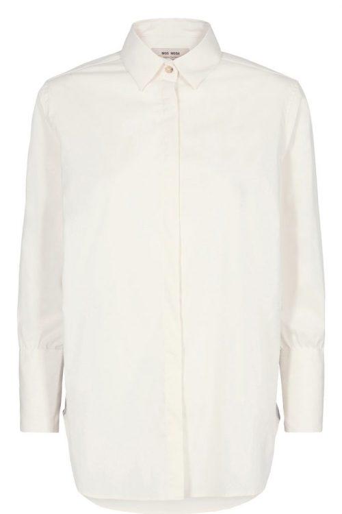 Ecru poplin skjorte med striper i siden Mos Mos - 131840 larina tape shirt