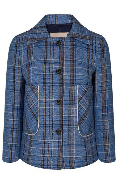 Kornblårutet kort jakke med ytterlommer Mos Mosh - 132630 camilla check jacket