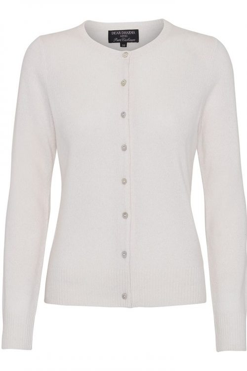 Grønn eller broken white klassisk cashmere cardigan Dear Dharma - classic cardigan cashmere