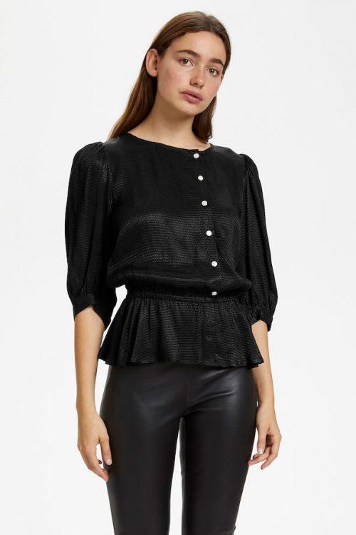 Sort viskosebluse med knapper Gestuz - merle blouse 10904084
