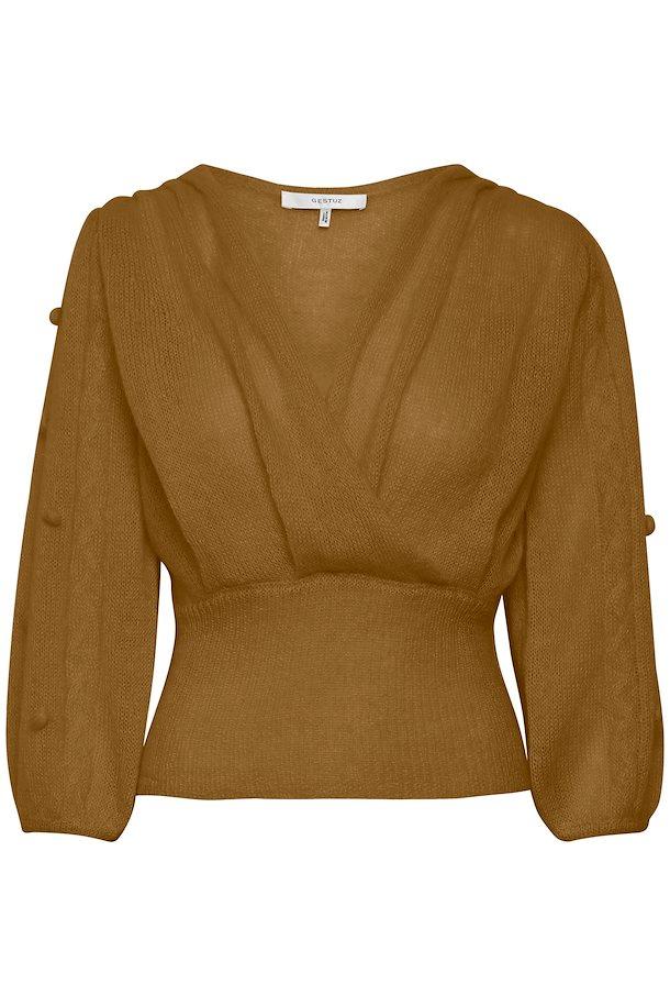 Dus rosa eller cognac feminin genser med dyp v-hals og poseermer med dots Gestuz - jayla pullover 10904076