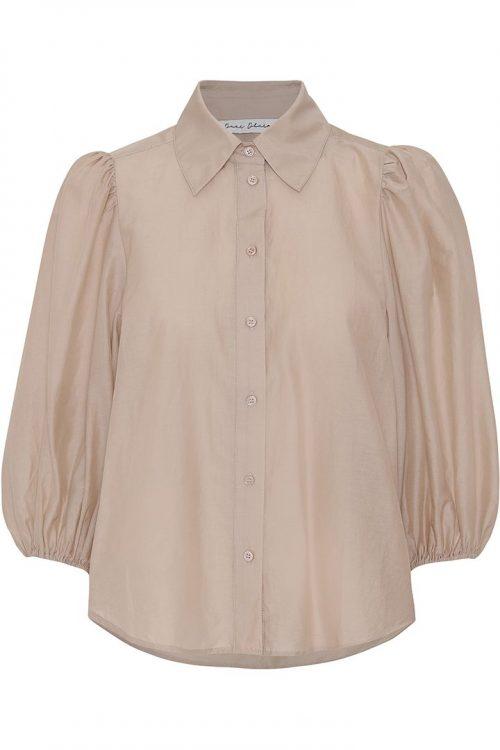 Hvit, beige eller blue silke/bomull florlett bluse med kort pufferm Dear Dharma - bellis shirt