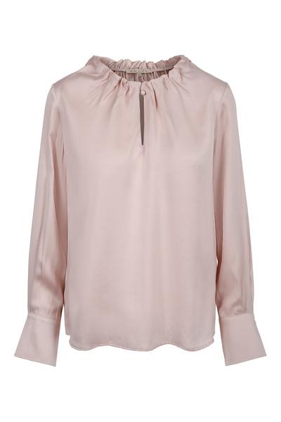 Ice blue eller dus rosa silkebluse med ruffles long sleeve - Amuse by Veslemøy - 6117
