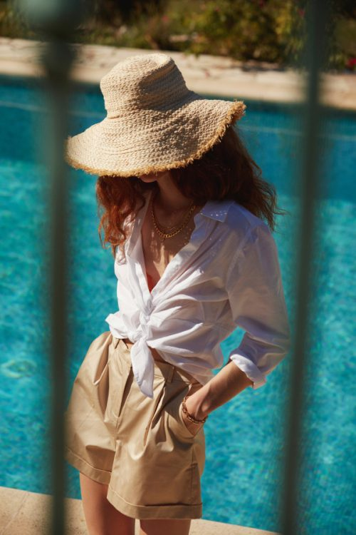 Hvit bomull bluse med knyting i front Katrin Uri - 427 hanna knotted front shirt