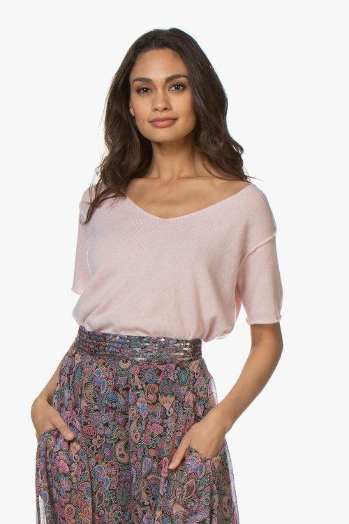 Beige eller dus rosa cashmere/bomull topp American Vintage - biz 218
