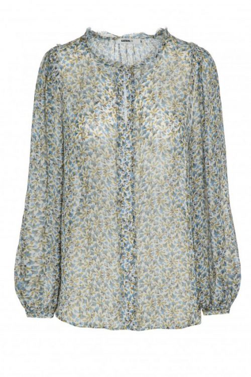 Lyseblågrønnmønstret krinklet viskose bluse med poseerm Katrin Uri - 403 cloves levi blouse