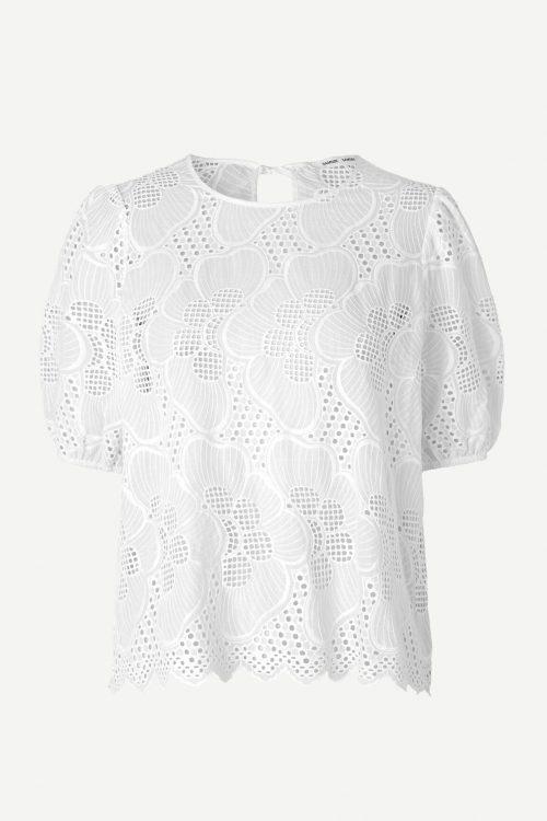 Hvit bomull blondetopp Samsøe - 11455 juni ss blouse