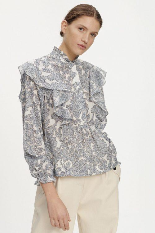 Blå artwork print bluse med kappe organisk bomull Samsøe - 11159 martha shirt aop