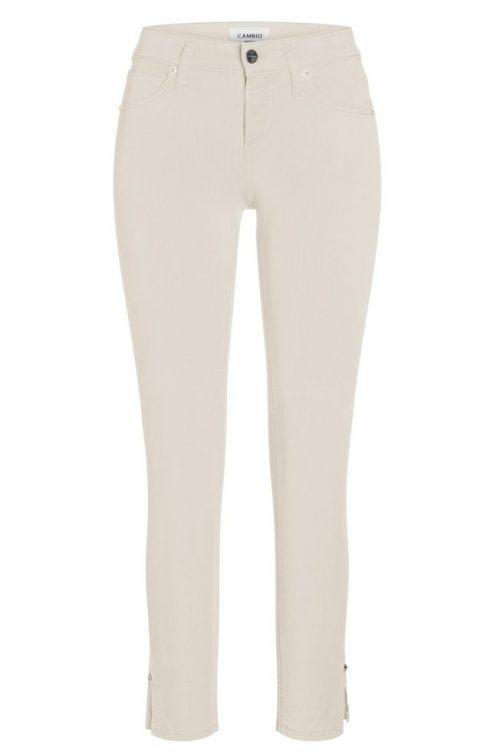 Frozen cream eller navy 'Tess straight short' myk bomull bukse med splitt nederst Cambio - 7650 0039-28 tess straight short 28