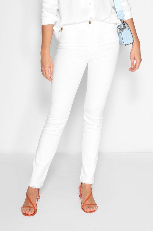 Hvit rett bomull cropped jeans med frynset råkant Lois Jeans - rebeca 2492-5991 megalia blush L32 cropped