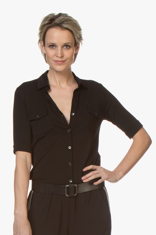 Hvit, marine, new kaki, beige eller sort linskjorte med brystlommer majestic Filatures - m011 fch 014