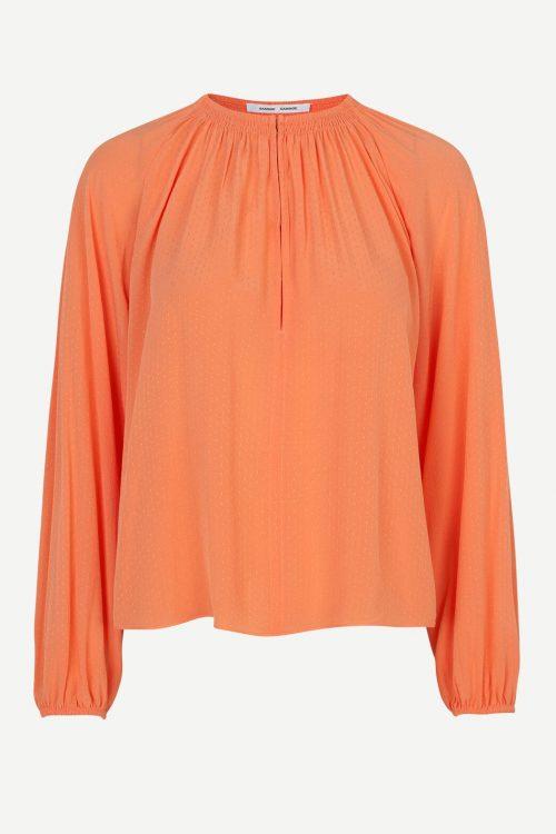 Ecru, marine og korallorange viskose bluse med poseerm Samsøe - 10458 kaia blouse