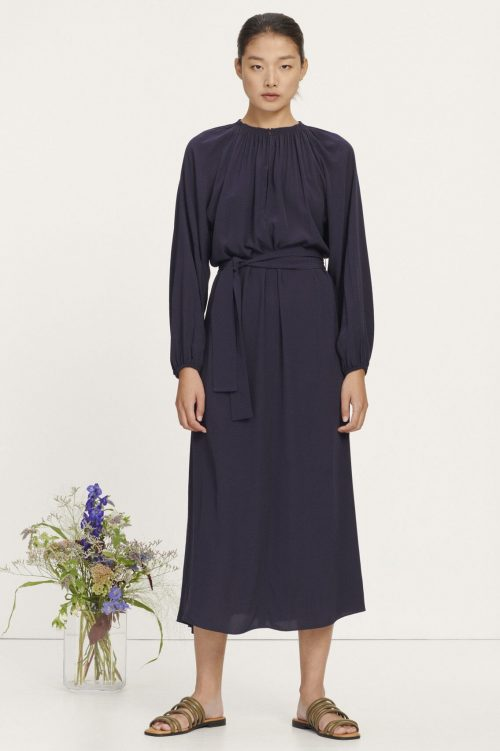 Marine og korallorange viskose lang kjole med poseerm Samsøe - 10458 kaia long dress