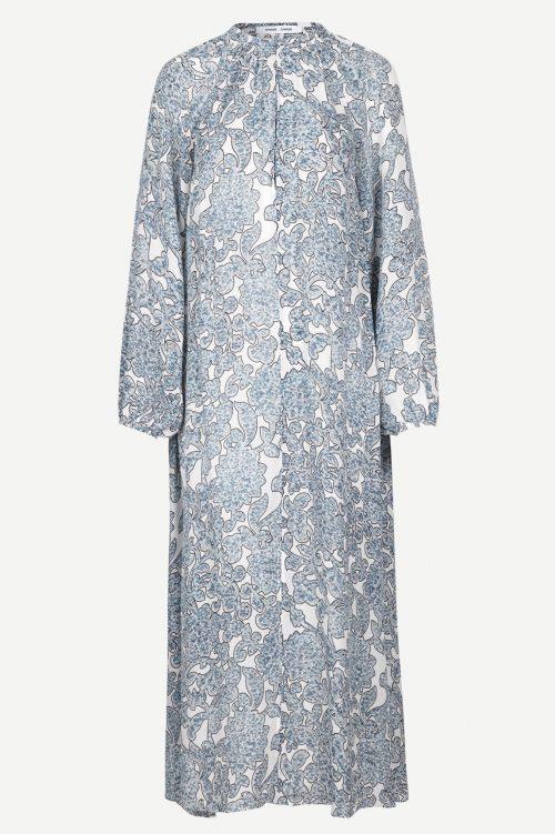 Lang silke blåmønstret tapetkjole Samsøe - 6434 kaja long dress silk