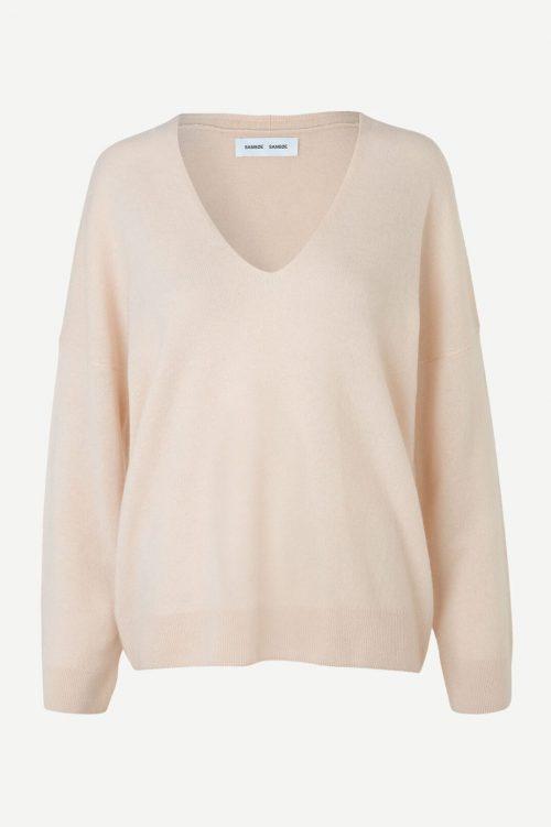 Kremfarget cashmere genser med v-hals Samsøe - 6304 nola