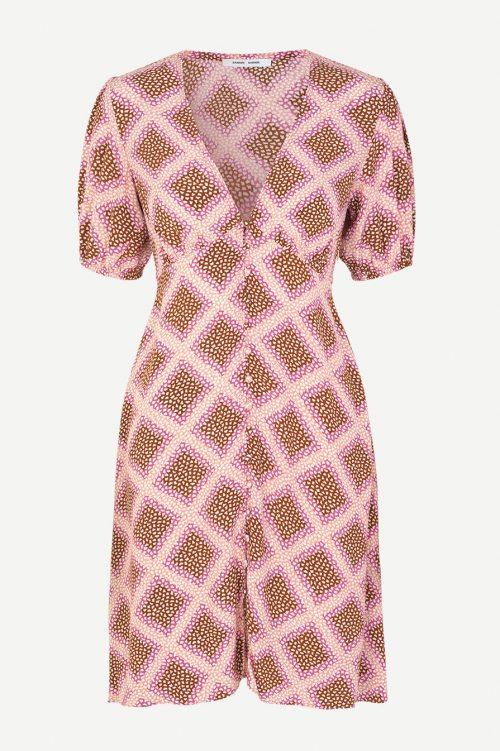 Rosabrunrutet viskose kjole Samsøe - 10056 petunia short dress