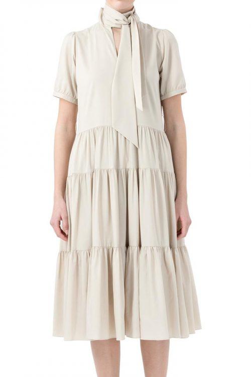 Sand eller sort kjole med knyting i halsen og volang skjørt Cathrine Hammel - 255.120 bowtie peplum midi dress