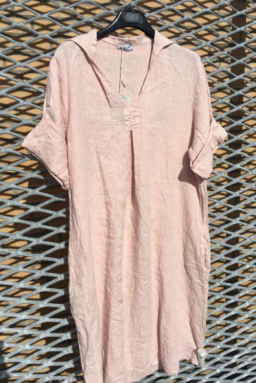 Dus rosa, bringebær, jeansblå, hvit eller gul italiensk lin skjortekjole Puro Lino