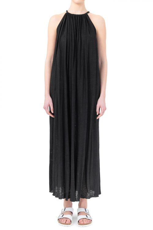 Sort lang sexy drapert lin maxikjole Cathrine Hammel - linen maxi boatneck dress