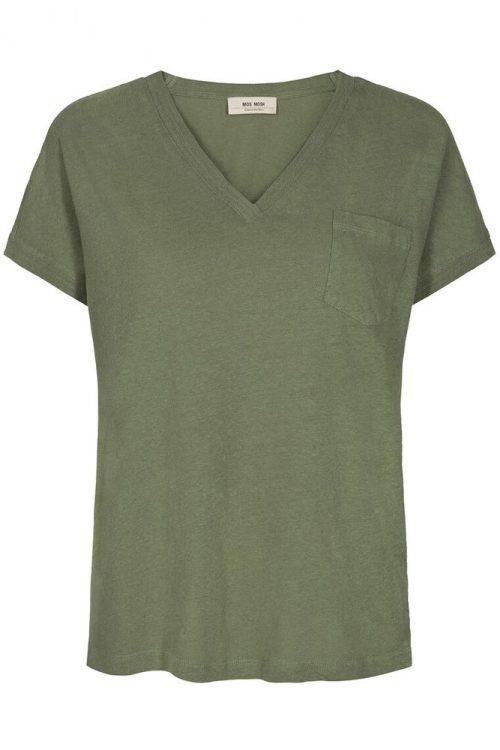 Grønn, dus rosa, lyseblå eller beigesand lin/bomull t-shirt med v-hals og lomme Mos Mosh - 131910 maya v-neck tee
