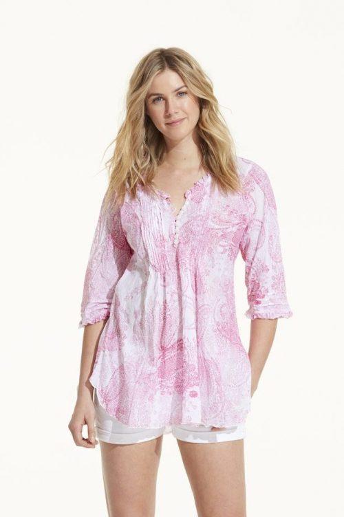 Rosa eller blå paisley mønstret tunika OneSeason - poppy top hot pink / poppy top white indigo