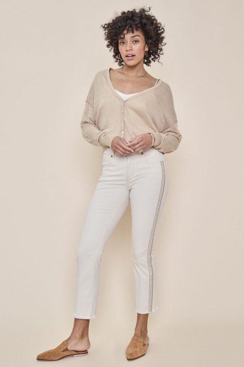 Ecru kick flare bukse med dekor-striper i siden Mos Mosh - 131471 simone cream