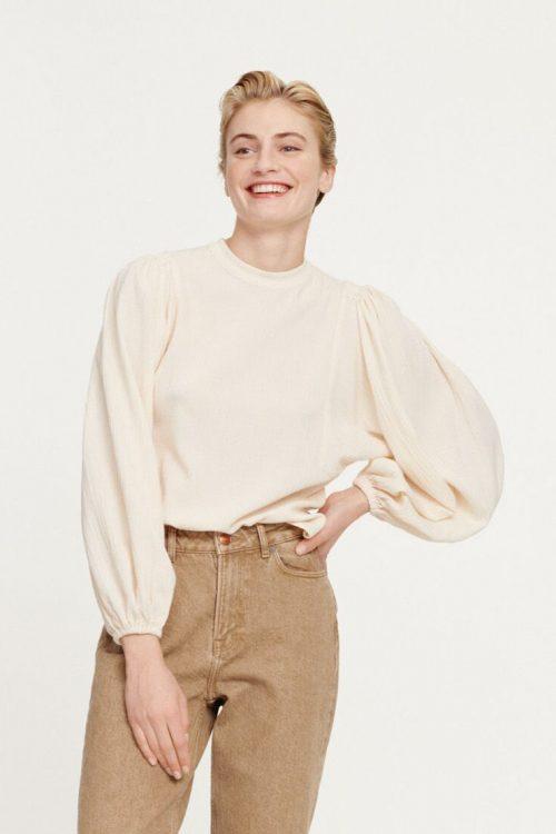 Kremfarget bluse med ballongermer Samsøe - 11238 harrietta blouse